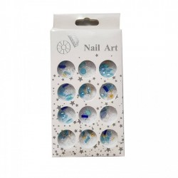 GLITTER STRAS ΣΕΤ 12 ΒΑΖΑΚΙΑ 51750-12 BLUE/WHITE/GOLD NY-51750-14